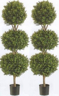 "2 Artificial 66"" Boxwood 3 Ball UV Topiary Tree Bush 5 4 6 Patio Pool Porch Deck"