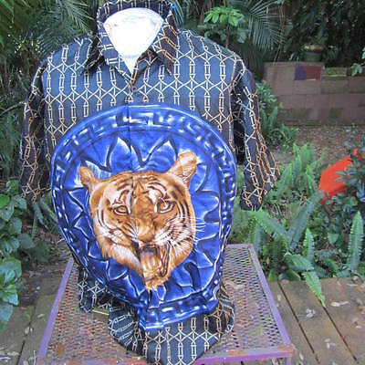 HAWAIIAN Aloha SHIRT L pit to pit 24 TRUST tiger face oriental style club