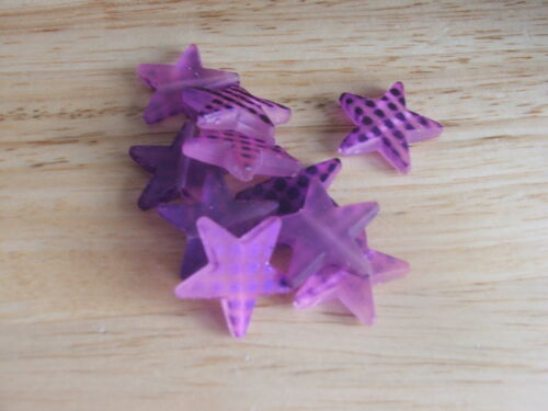 20 x Rubberized satin acrylic /'spotty/' STAR beads for crafts /& jewellery