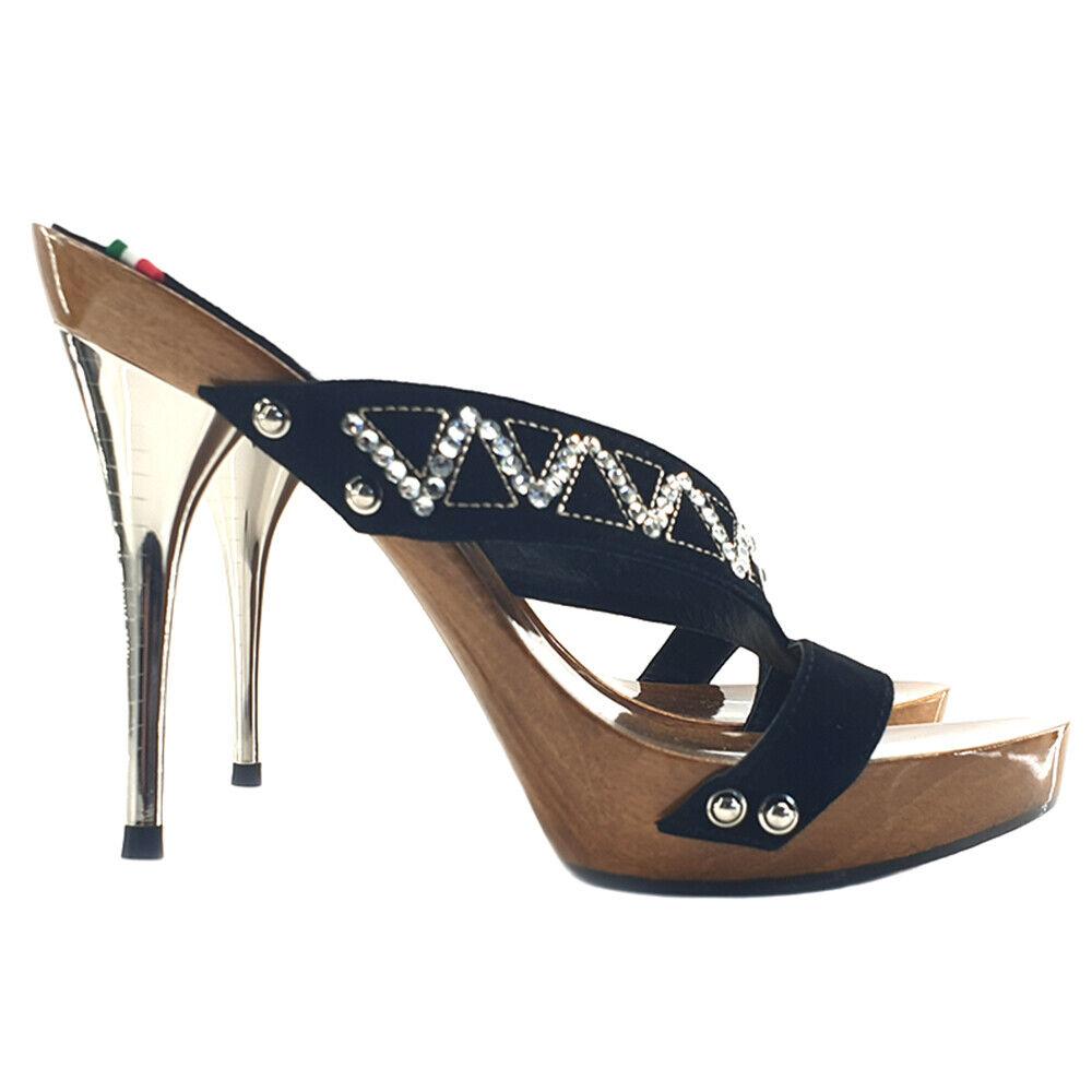 Sandali in legno con fascia in pelle sintetica 100% Made in  - GC16 noir
