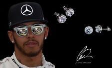 Men's/Boy's: Lewis Hamilton 18ct White Gold Plated Crystal Diamond Earrings