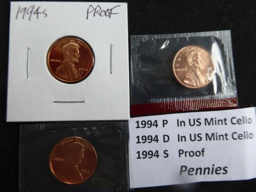P /& D in US Mint Cello -FREE SHIPPING!! 1994 Lincoln Cent 3 Coin Set- S Proof