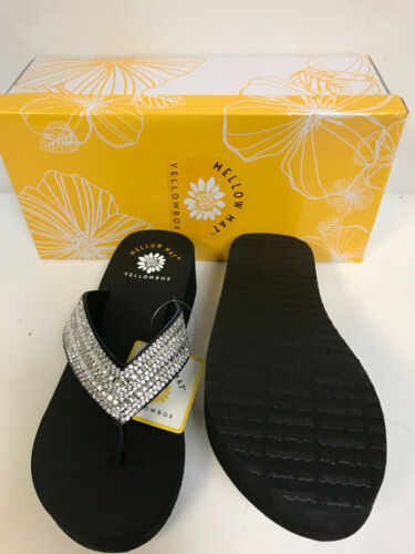 Yellow Box Katie Black Leather w// Clear Rhinestones w// Mellow Mat Comfort Insole