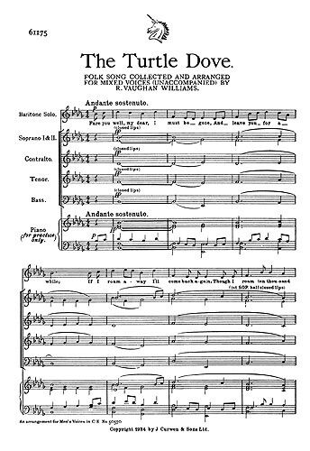 Ralph Vaughan Williams: The Turtle Dove Baritone Voice, SATB Sheet Music Vocal S