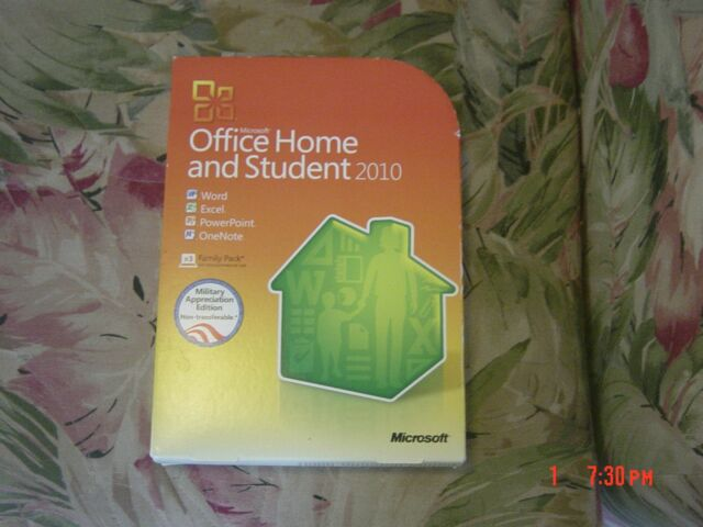 Microsoft Office Home And Student 2010 Military Reciation Edition
