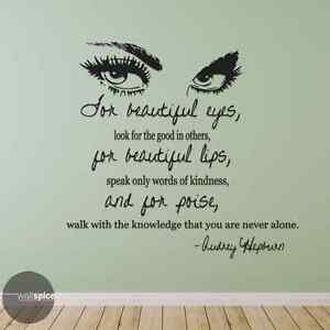 Audrey Hepburn Quote For Beautiful Eyes Vinyl Wall Decal Sticker Ebay