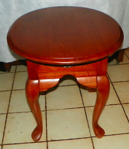 Oval Light Cherry End Table Side