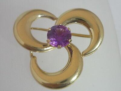 vintage irish 9k gold heart amethyst brooch conversion pendant ww