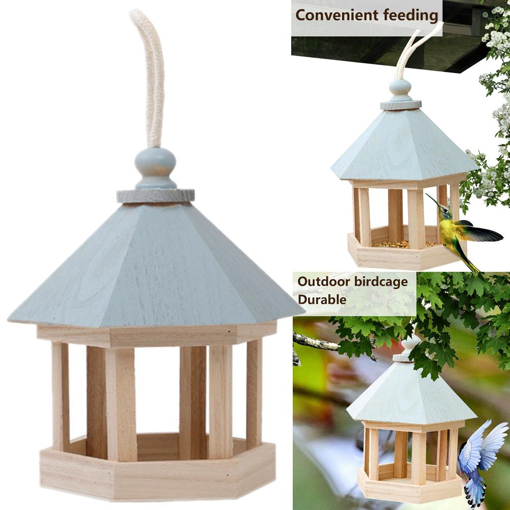 Wooden Outdoor Garden Hanging Wild Bird Table Feeder House Feeding Station