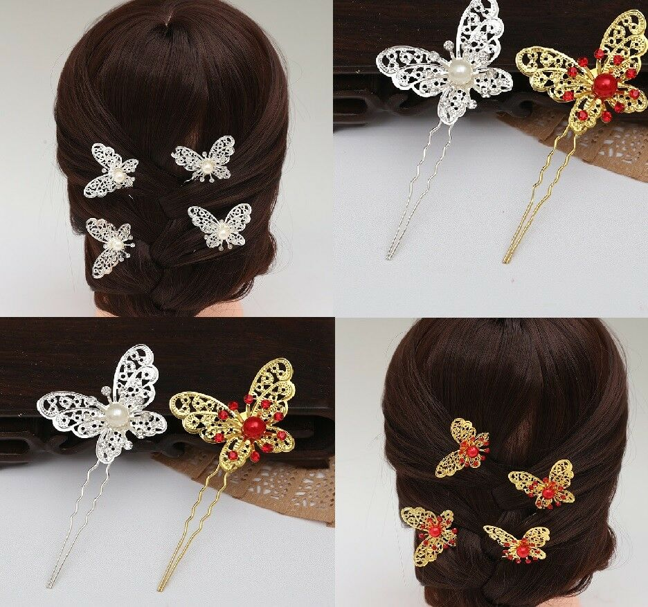 Butterfly Wedding Bridal Hair Pins Grips Silver Gold Pearl Diamond Indian Red