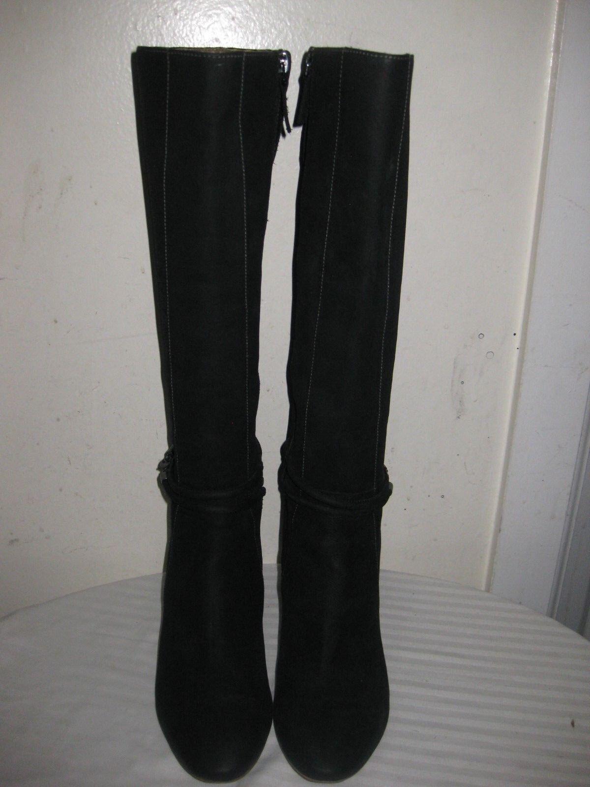 ECCO Leather Knee high Black Black Black Boots Women's shoes Size 40   9.5 54e86b