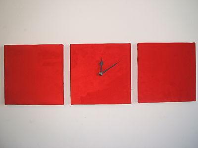 3 Moderno Muro Parati Rosso In Finta Pelle Scamosciata Con Orologio Da Parete- Ineguale Nelle Prestazioni