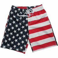 Faded Glory Men's Swim Trunks Swimsuit S M L Xl 2xl 3xl 4xl 5xl American Flag