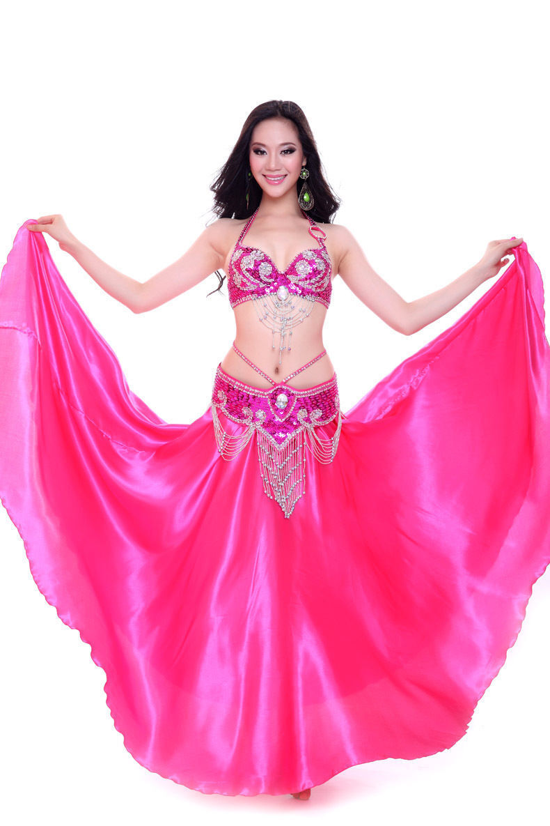 Performance Belly Dance Costume Outfit Set Bra Top Belt Hip Scarf Bollywood 3PCS