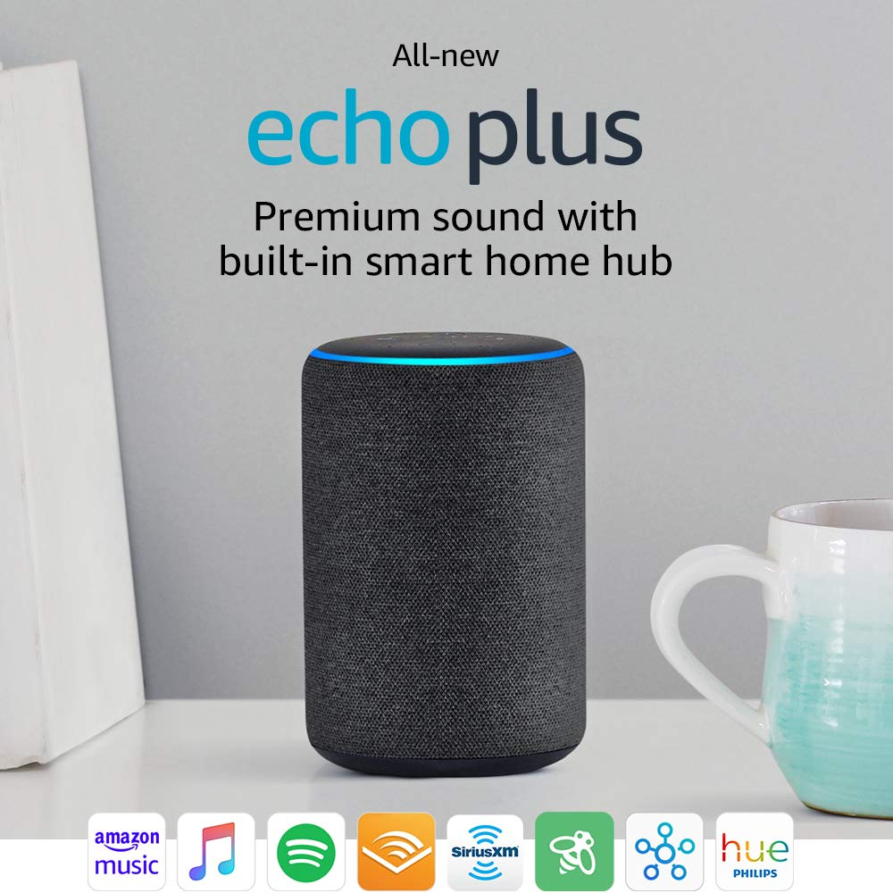 All-new Echo Plus (2nd Gen) - Premium sound with built-in smart home hub - Charc