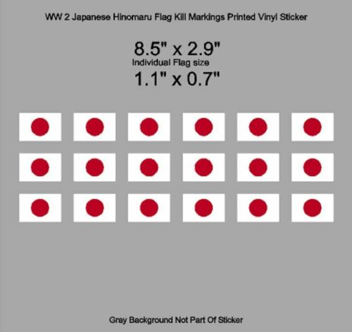 WW 2 Japanese Hinomaru Flag Fighter Bomber Kill Markings Printed Vinyl Sticker