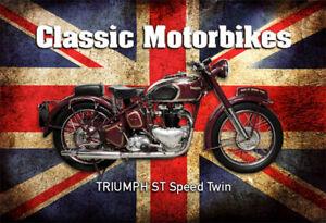 TRIUMPH-unidades-SPEED-doble-moto-motocicleta-Letrero-De-Metal-Tin-Sign-20-x-30