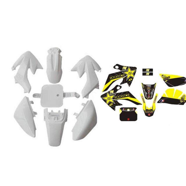 CRF50 White Plastics Kit + Graphics Stickers 50/70/90/110/125cc Motorbike