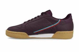 Adidas-Originals-Continental-80-Hommes-Tailles-UK-8-5-amp-10-5-Bordeaux-Maroon