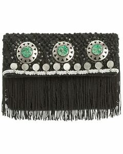 Sam-Edelman-Lisa-Womens-Foldover-Macrame-Clutch-Handbag-Black