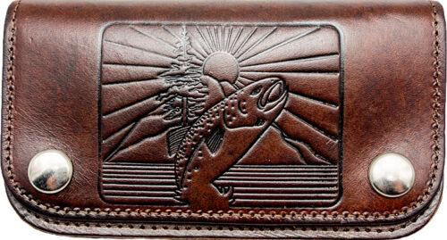 Biker Wallet pesce punzonatura PORTAFOGLIO CATENA Buffalo Leather Rockabilly PESCATORE