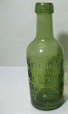 1 Glasflasche Miner Wass Mineralwasser von Dr Struve in Dresden /& Leipzig grün