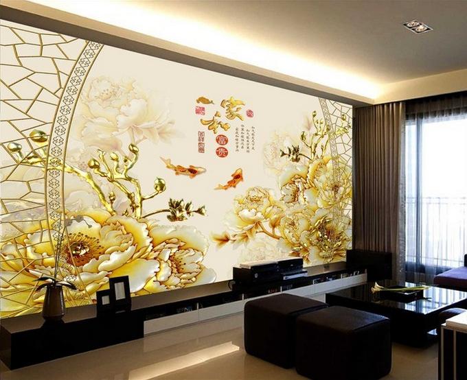 3D Gold Peony 4008 Wallpaper Murals Wall Print Wallpaper Mural AJ WALL AU Carly