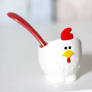 Novelty Bpa Free Plastic Chicken Hen Egg Cup With Spoon