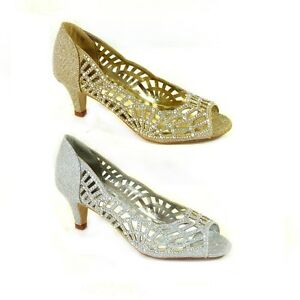 51f5e9b3d28f WOMENS LADIES LOW KITTEN HEELS COURT SHOES OPEN TOE WEDDING DIAMANTE ...