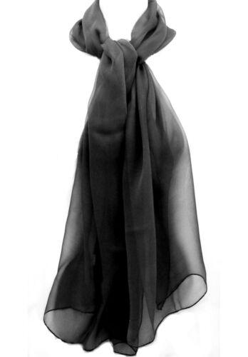 NOIRE FOULARD FEMME ETOLE ECHARPE VOILE DE MOUSSELINE DE SOIE 100/% NATURELLE