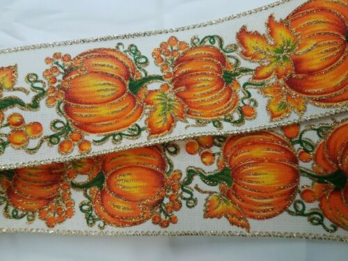 """Fall Pumpkin Leaf Orange Halloween Thanksgiving Wired Large 10/"""" Hand Made Bow"""