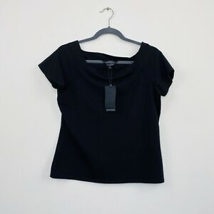 Portmans-Womens-Black-Top-Basic-Stretch-Fitted-Short-Sleeve-Size-L-RRP-39-95