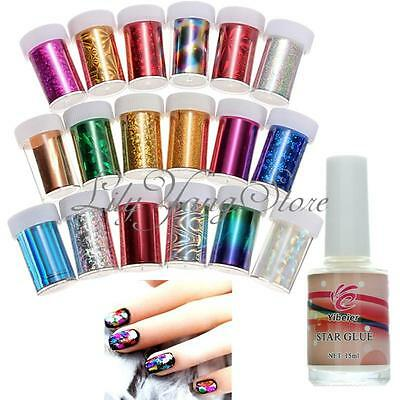 12 Mix Colors Nail Art Transfer Foils Sticker DIY Tips Decoration +Glue Set
