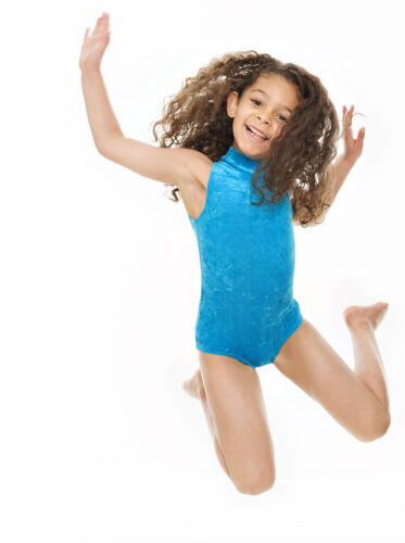 Girls Childs Dance Gymnastics Velour Velvet Sleeveless Leotard KDGV017 By Katz