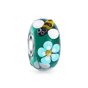 Bling-Jewelry-Silver-Teal-Bumblebee-Flower-Murano-Glass-Bead