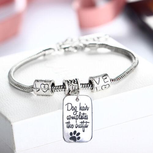 Pet Dog Paw Necklace Bracelet Bangle Jewelry Keyring Key Chain Pendant Tags Gift