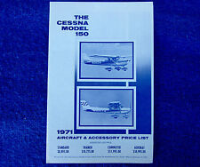 CESSNA 150 / AEROBAT - Early Factory Price List 1971 - Vintage Rare Collectible