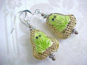 Frog-Earrings-Lime-Green-Southwest-Handmade-Cloisonne-Toad-Sundance-Artisan-USA