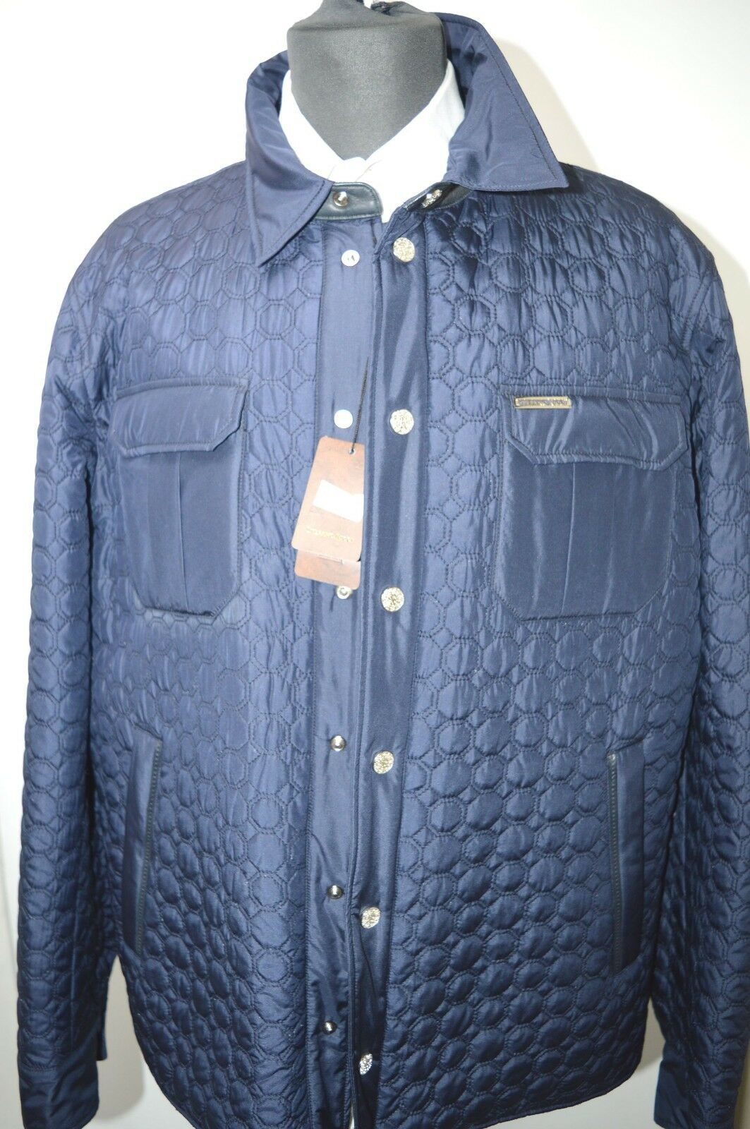 NEW 8650,00  STEFANO RICCI Outwear Coat Silk Leder Us L Eu 52 G113