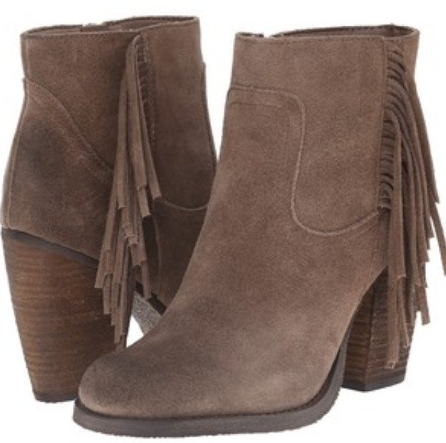 NIB Sbicca Marimba TAUPE FRINGE Ankle Booties Boots Womens 7 M