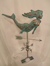 LARGE Handcrafted 3Dimensional Mermaid Weathervane Copper Patina Finish