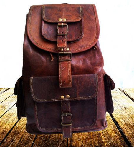 """17/"""" Men/'s Vintage Leather Laptop Backpack Shoulder Messenger Bag Sling Rucksack"""