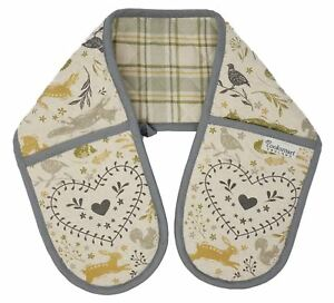 WOODLAND ANIMALS HARE HEDGEHOG SQUIRREL FOX QUILTED DOUBLE OVEN GLOVE