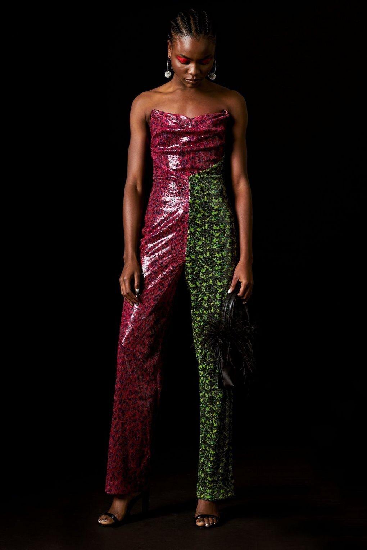 Topshop x Halpern Farrah Cheetah Sequin Jumpsuit Size 8 RRP
