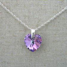 Crystal Heart Pendant Necklace w SWAROVSKI ELEMENT - Sterling Silver  -VL Purple