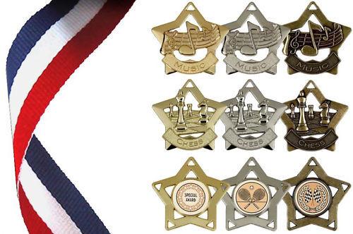 échecs Médaille Inc Universal//GENERAL-Mini Star medal - Ruban musique