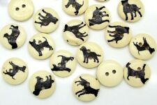 """Lot of 10 DOG 2-hole Wooden Button 5/8"""" (15mm) Scrapbook Doll Crafts (9044)"""