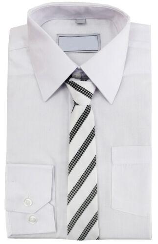 Boys Formal Button Up Toddler Kids Dress Shirt /& Matching Tie Set 7 Colors