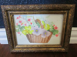 Vtg-Floral-Watercolor-Small-Painting-Gilded-Frame-Signed-EH