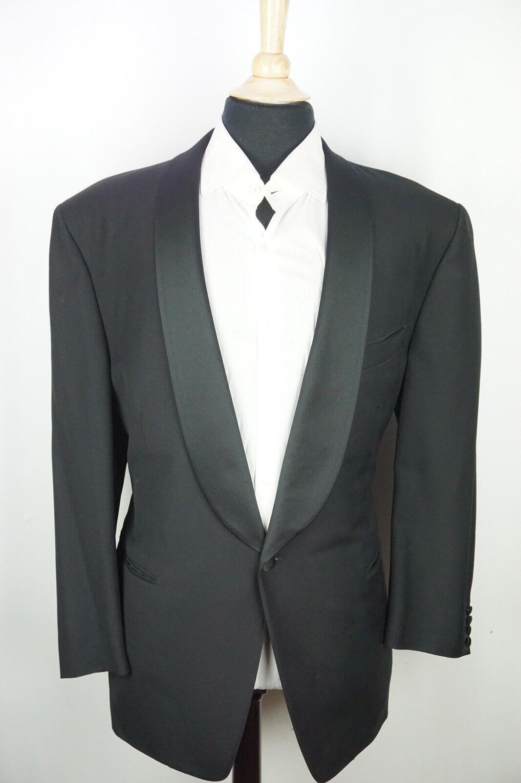 Canali Black Shawl Lapel 1 Button Wool 2 Pc Full Tuxedo Jacket Pants Sz 48R